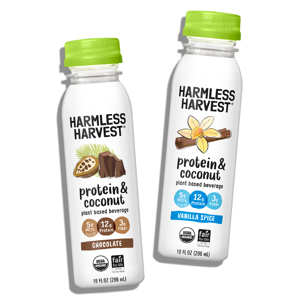 Two Harmless Harvest Protein & Coconut 10oz bottles, chocolate & vanilla spice flavors